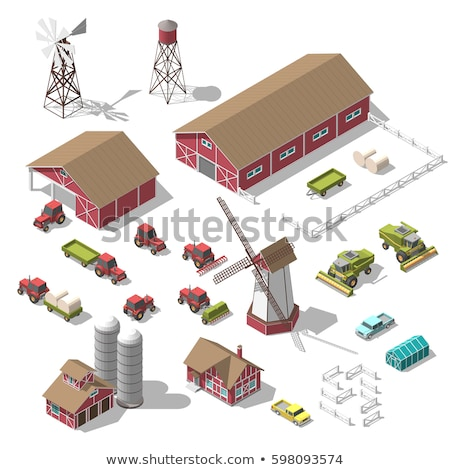 Agronomy Cultivator Trailer isometric icon vector illustration Stock photo © pikepicture
