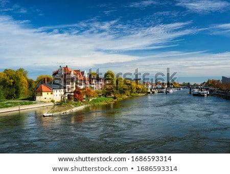 Huizen donau rivier Duitsland oude hemel Stockfoto © dmitry_rukhlenko