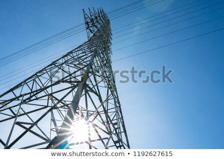 elektromos · transzformátor · kék · ég · fehér · felhők · technológia - stock fotó © sweetcrisis