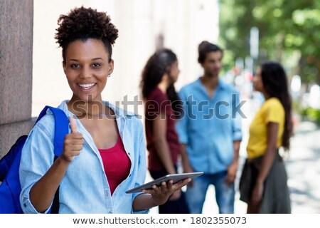 довольно · колледжей · афро · американский · студент - Сток-фото © stockyimages