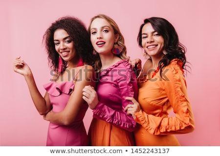 kobieta · długie · włosy · czarny · dżinsy · stwarzające - zdjęcia stock © mtoome