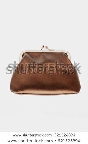 barna · pénztárca · bankjegyek · halom · izolált · fehér - stock fotó © vlad_star