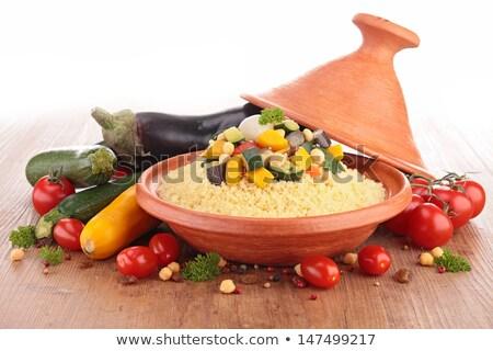Vegetariano couscous madeira fundo tomates branco Foto stock © M-studio