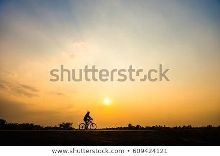 Sziluett kerékpáros naplemente égbolt víz férfi Stock fotó © Discovod