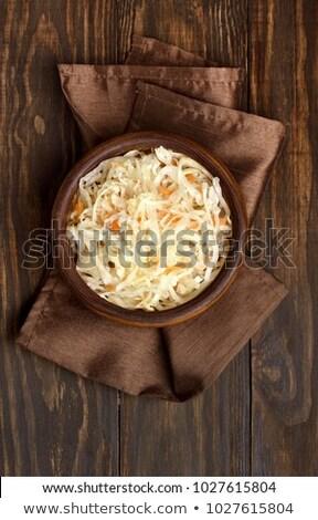 Tányér savanyú káposzta háttér vacsora hús krumpli Stock fotó © M-studio