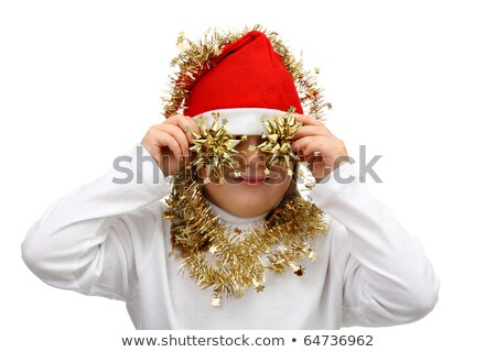small girl in santas red hat with golden chains isolated on white stock photo © peterpolak