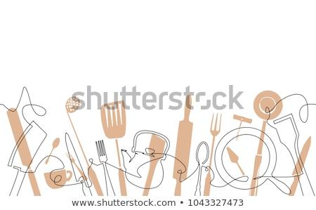 kitchen utensil frame Stock photo © marylooo