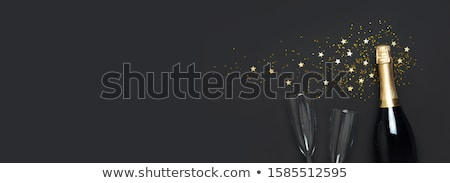 Minimalistic New Year card with bottles and glasses Stock photo © orson