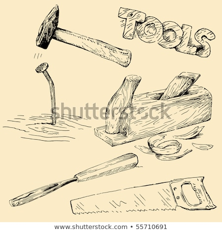Stock photo: Collection of hand drawn Carpentry, woodworker, joinery icons