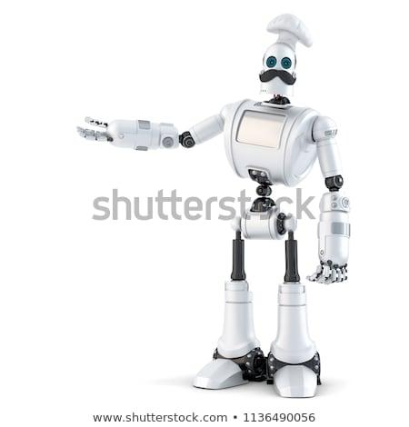 Robot mutat láthatatlan tárgy vágási körvonal 3d illusztráció Stock fotó © Kirill_M