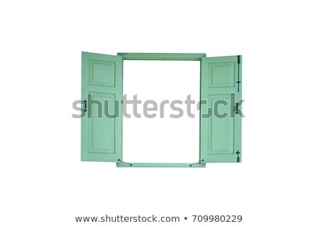 vieux · vert · bois · fenêtre · jaune · façade - photo stock © smuki