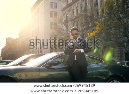 zarif · adam · araba · çağrı · ofis · yol - stok fotoğraf © konradbak