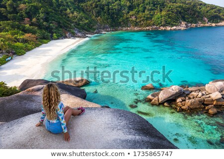 Belo mulher jovem em pé maravilhoso limpar mar Foto stock © Massonforstock
