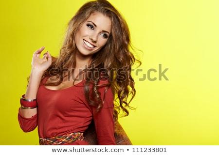High fashion model kat poz kadın saç Stok fotoğraf © konradbak