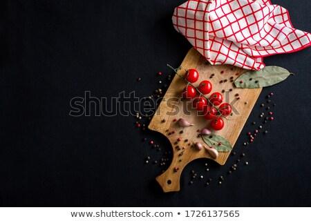 Cięcia pomidorki deska do krojenia widoku nóż Zdjęcia stock © LightFieldStudios