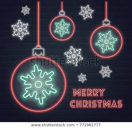 Natal néon flocos de neve azul conjunto rápido Foto stock © Voysla