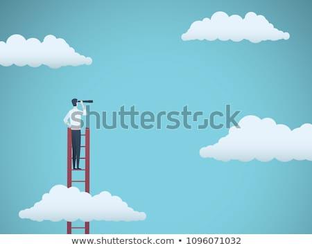 Leiter · Himmel · 3D · Zeichen · Klettern · 3d · render - stock foto © alexmillos
