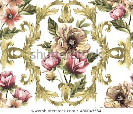 Absztrakt klasszikus végtelenített damaszt minta rózsa Stock fotó © fresh_5265954