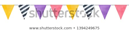 hand drawn bunting flags in orange purple and black stock photo © pravokrugulnik