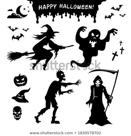 Halloween título preto chapéu de bruxa branco desenho animado Foto stock © TasiPas
