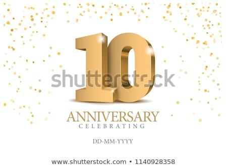 Nombre 10 illustration mains lettre numérique Photo stock © colematt