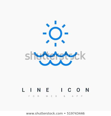 logo sun and water wave tourism sign icon summer stock photo © blaskorizov