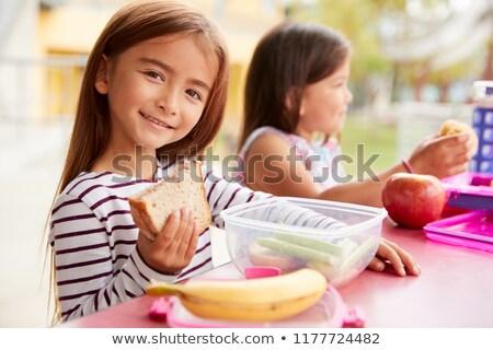 Meisje lunchbox drinken illustratie voedsel kind Stockfoto © colematt