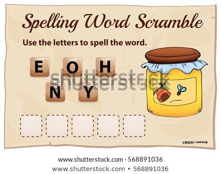 Spelling word scramble template with word honey Stock photo © colematt