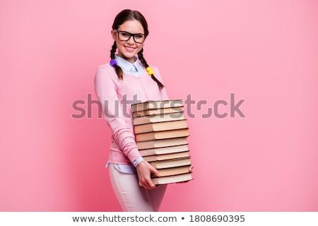 boldog · fiatal · tinilány · hordoz · hátizsák · tankönyvek - stock fotó © deandrobot