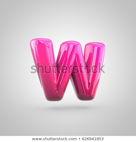 red glossy font letter w 3d stock photo © djmilic
