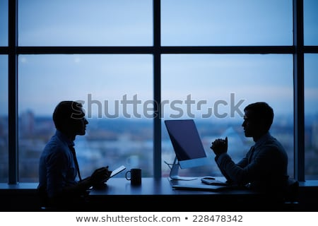 Foto stock: Equipo · de · negocios · ordenador · de · trabajo · tarde · oficina · negocios