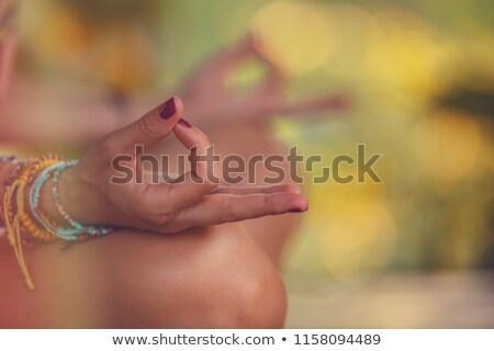 nő · gyakorol · jóga · trópusi · park · kezek - stock fotó © galitskaya