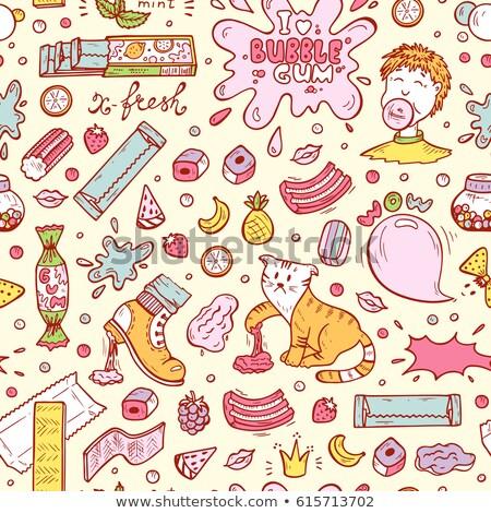 Bubble gum set pattern Stock photo © netkov1