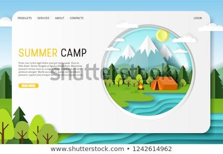 Summer camp concept banner header. Stockfoto © RAStudio