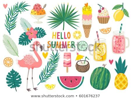 Foto stock: Conjunto · verão · elemento · ilustração · árvore · fundo