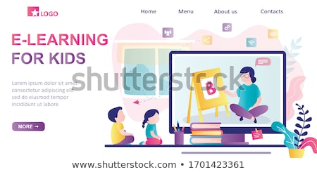 Domu lądowanie strona dzieci rodziców Zdjęcia stock © RAStudio