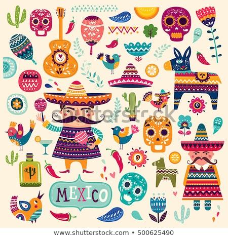 Emblema mexican ornamenti bianco eps 10 Foto d'archivio © limbi007