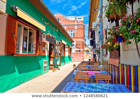 Restaurant central street of Novi Sad summer view Stock photo © xbrchx