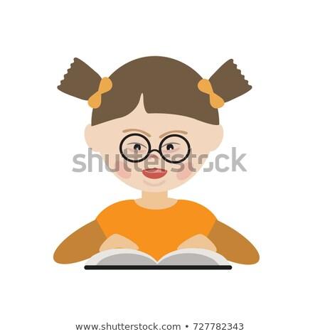 Dziecko chłopca w dół syndrom przeczytać książki Zdjęcia stock © lenm