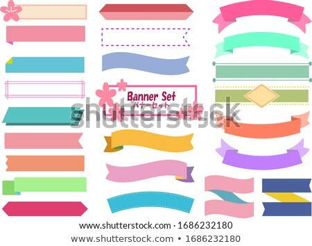 Ribbon banner flat color illustration Stock photo © barsrsind