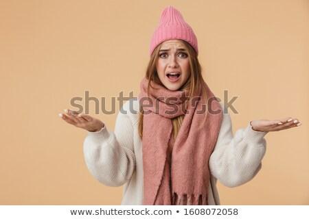 изображение девушки Hat шарф вверх Сток-фото © deandrobot