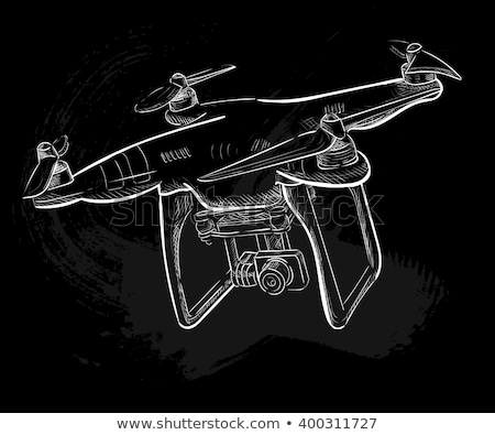 Quadrocopter drone. Air drone hovering. Aerial vehicle. Unmanned aircraft. Modern air gadjet, quadro Stock photo © designer_things