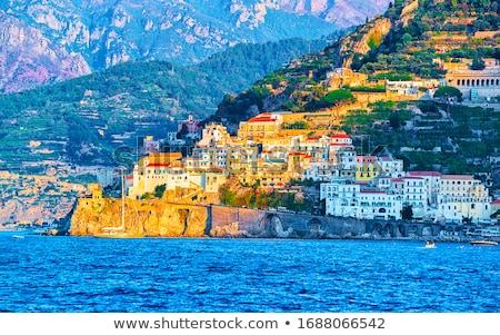 Gyönyörű falu olasz tengerpart város hegy Stock fotó © elxeneize