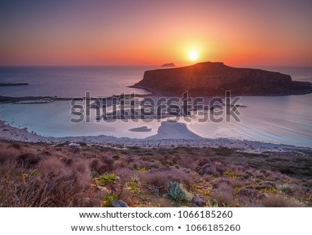 Puesta de sol playa Grecia isla hermosa horizontal Foto stock © dmitry_rukhlenko