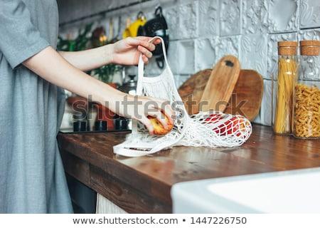 gerecycleerd · boodschappentas · hand · witte · handschoen - stockfoto © devon