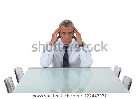 Starszy biznesmen pusty sali konferencyjnej ręce smutne Zdjęcia stock © photography33