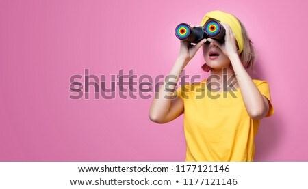 sevimli · kadın · dürbün · sarı · iş - stok fotoğraf © pxhidalgo