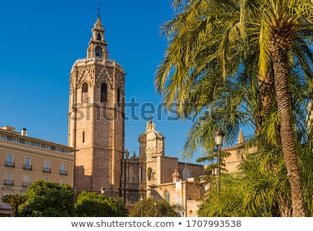 Valencia Plaza de la Virgen cathedral and Miguelete Spain Stock photo © lunamarina