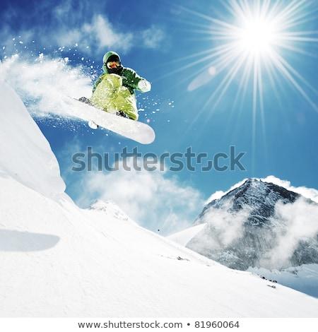 genç · kayakçı · atlama · yüksek · dağlar - stok fotoğraf © smuki