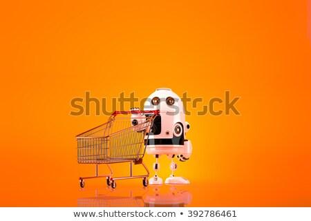 andróide · robô · carrinho · de · compras · ecommerce · isolado · negócio - foto stock © kirill_m